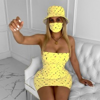 Women Sexy Dress + Hat + Mask Three Piece Sets Tracksuits Night Club Party Outfits clothes set