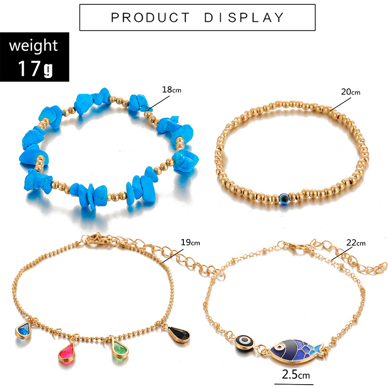 YG004 Trade Assurance Latest Fashion Bohemia Multilayer Turquoise Eye Beaded Anklet 4pcs/set Waterdrop Crystal Fish Charm Anklet