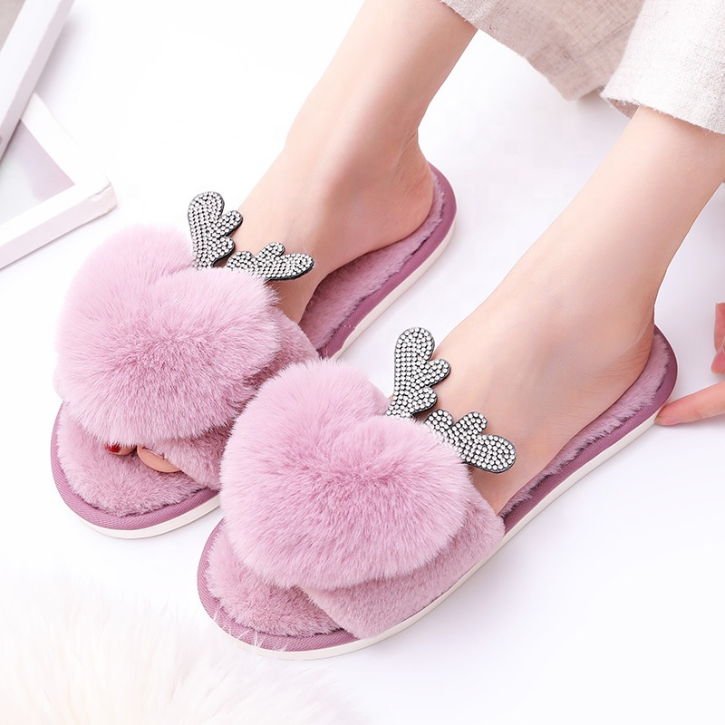 2019 winter NEW model woman open toes furry fur indoor home heart plush slipper