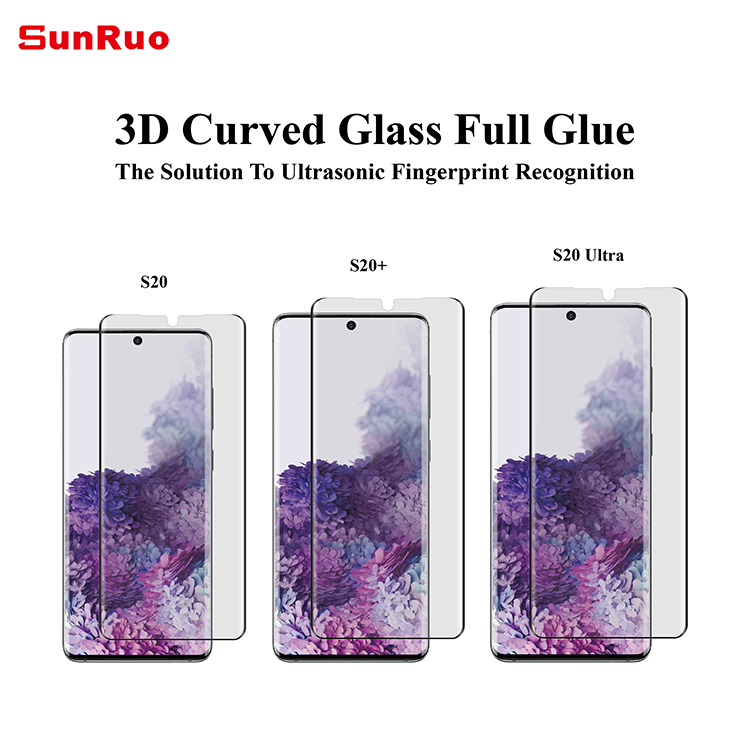 3D curved 9h hardness full glue tempered glass screen protector for samsung galaxy S20 series