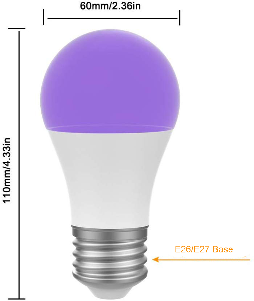 UV LED Bulb 7W A19 Bulb Light UVA Level 395nm Glow in The Dark for Blacklight Party, Body Paint Fluorescent
