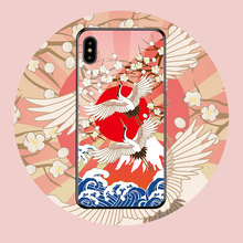 Customized Phone Case For <strong>iPhone</strong> xs max Glass Cell Phone Case 8Plus 6s Phone Accessory Chinese Style Case