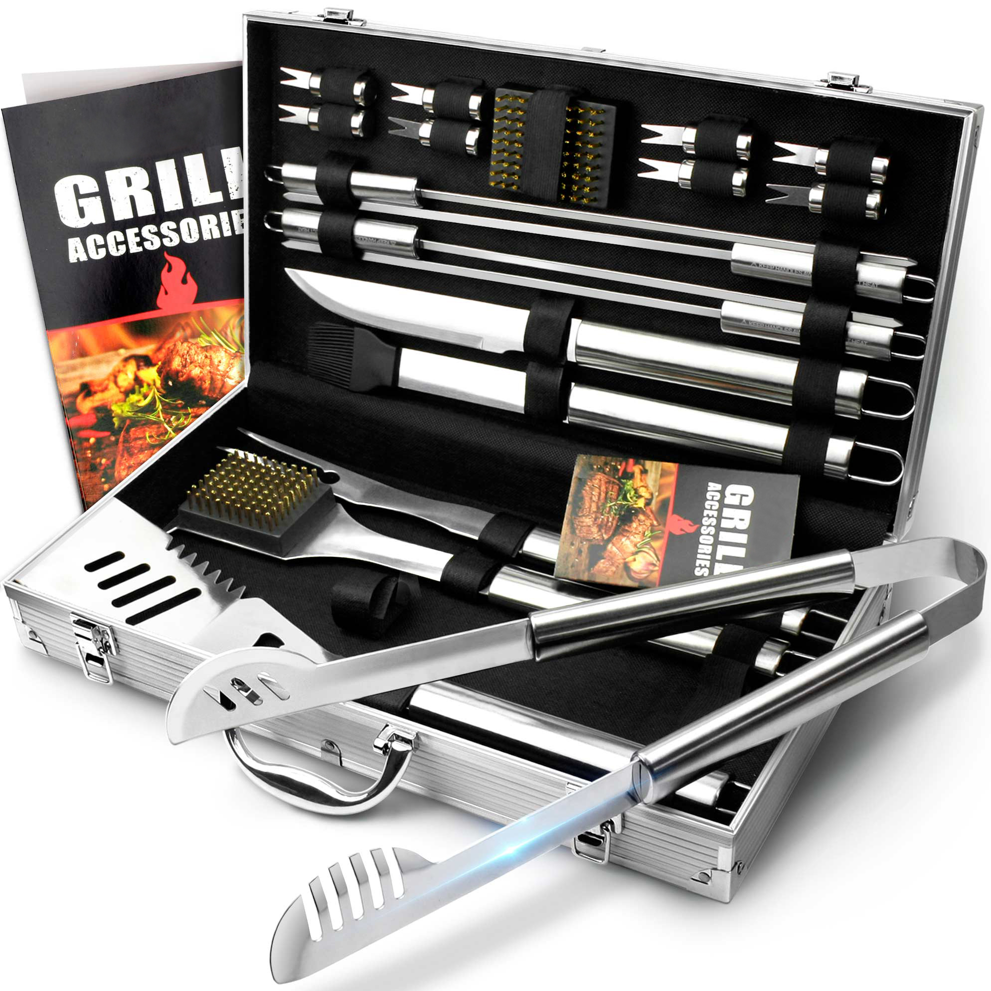 Hotsell 20Piece Stainless steel BBQ TOOLS SET In Aluminium Case