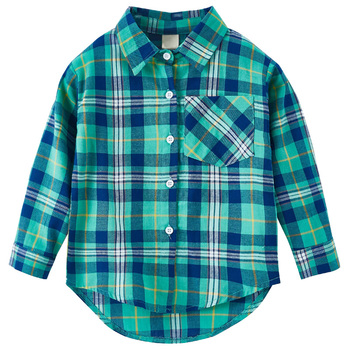 Custom personality printed pattern shirt button down plaid long sleeve boys shirt