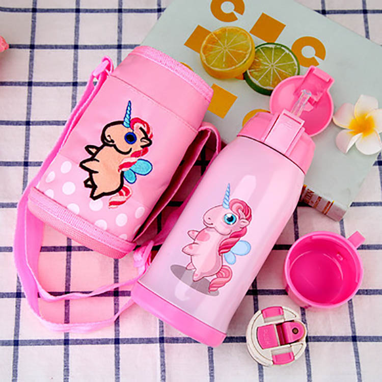 Children Kids Stainless Steel Water Bottle With Straw Water Bottle