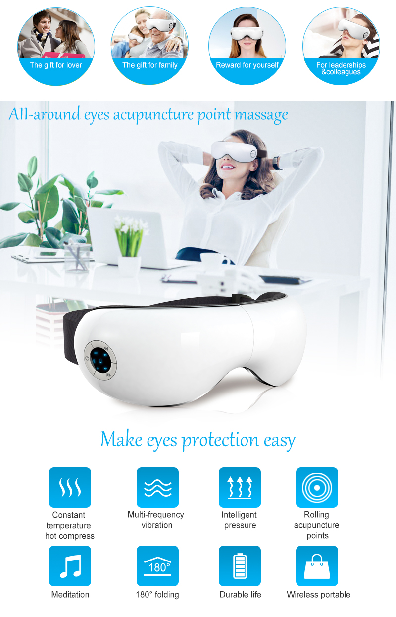 Wireless Eye Massager With Music For Eye Relax / Eye Warm Up