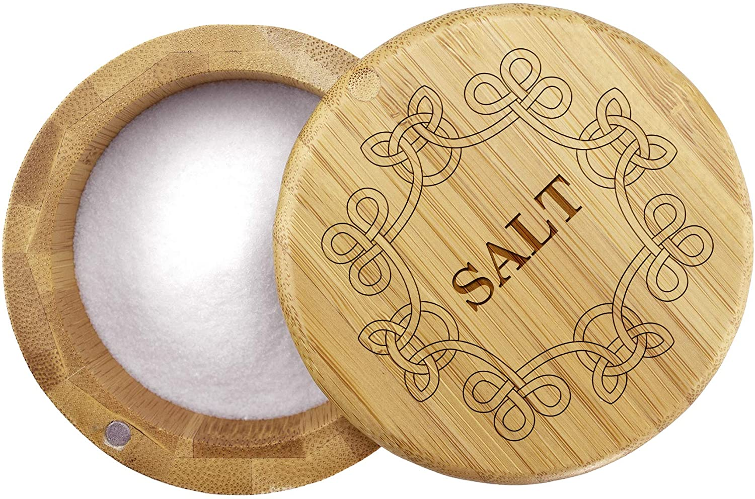 Totally Bamboo Salt Box Bamboo Storage Box with Engraved Lid