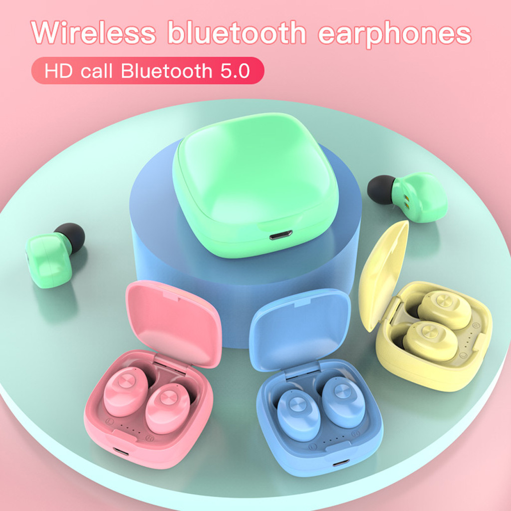 XG12 Macaron TWS Sports Bluetooth 5.0 Earphones Wireless Waterproof Mini In-ear HIFI Headset With Charging Case