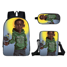 ODE 3/pcs African American Boys Designs <strong>Bags</strong> Popular African American Boys Backpack High School Hold Books Kids Backpack