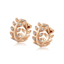 98889 xuping copper rose gold plated Leaves <strong>earring</strong> 2020 new trend leaf hoop <strong>earrings</strong>