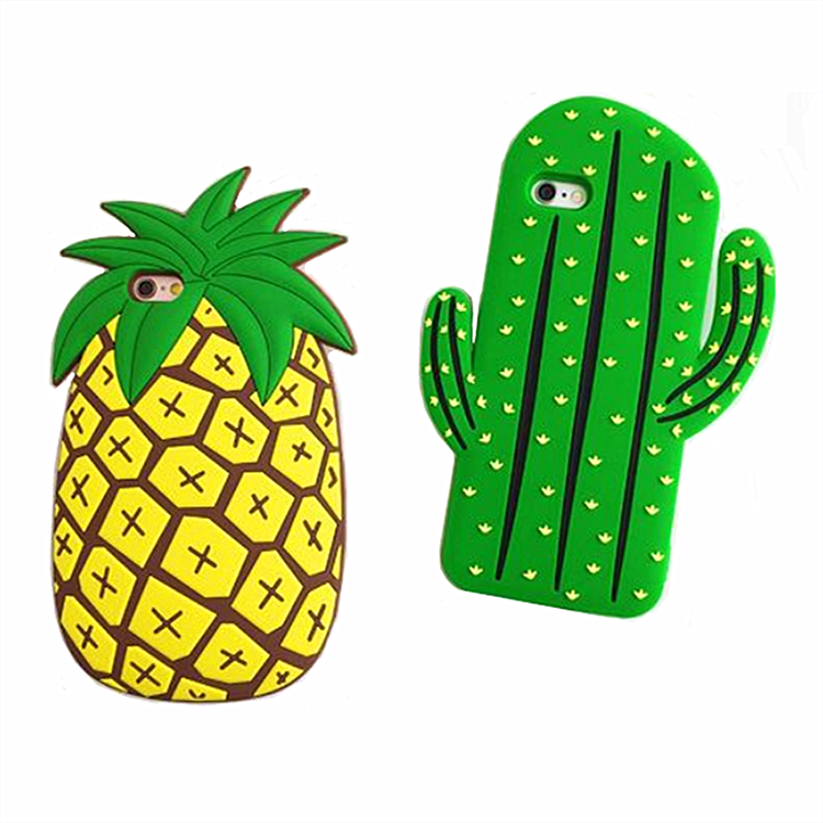 Three-dimensional 3D Real Cactus Pineapple Soft Touch Silicone Phone Case