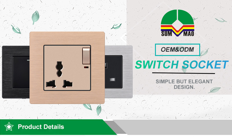 OEM ODM 86*86mm Size Aluminum Material Black 2 Gang Electric Wall Light Switch