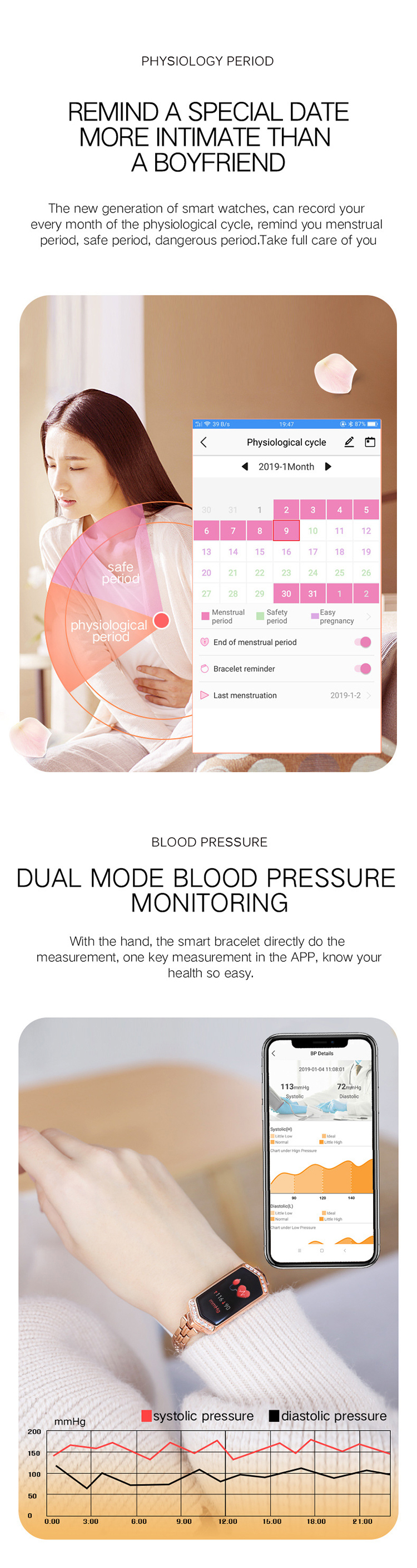 Bluetooth  movement color screen smart wristband for monitoring heart rate and sleep physiological period of women's