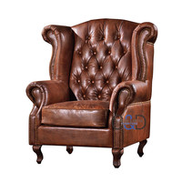 antique chesterfield wing leather office chair