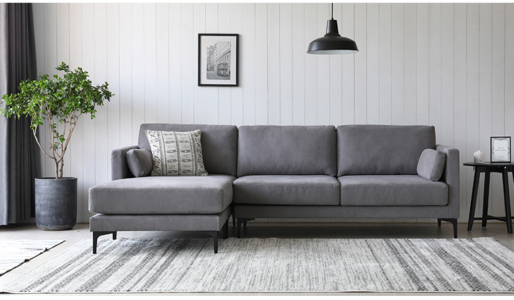 Modern Polish Fabric L-Shaped Couch Convertible Lounger Sectional Sofa