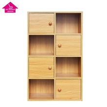Storage wood bookcase natural color PB MDF book <strong>shelf</strong> wholesale