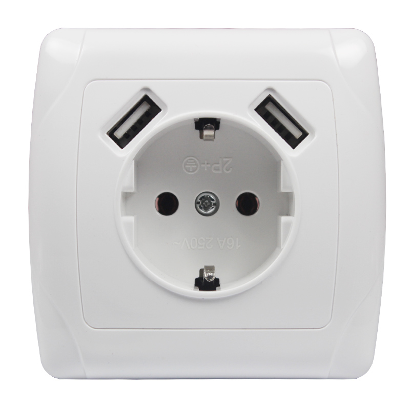 Newest Design Europe USB Wall Socket Murale Steckdose with 5V 2A Dual USB Port for Phone Charging <strong>A001</strong>