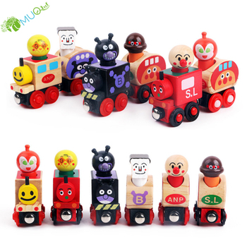 "YumuQ 14"" Magnetic Wood Train Toy, Colorful Thomas Toy Train Sets for Kids Toddler Boys and Girls"