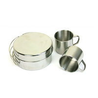 Top Quality 8pcs Kitchen Outdoor Camping Stainless Steel Folding Cookware Set, Portable Multifunctional Outdoor Cookware Set