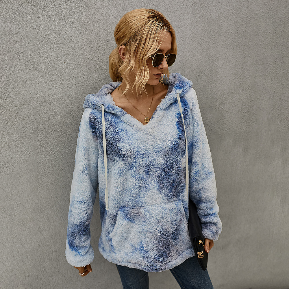 2020  New Fashion  Beauty Women Thickening Tie-dye Hooded Sweater