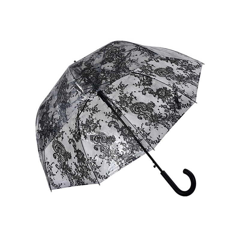 Transparent Apollo <strong>23</strong> inch <strong>J</strong> handle Classic Umbrella with Lace full Print