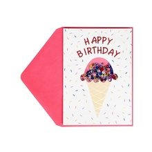Best Seller Ice Cream Funny Foil Birthday Cards, Custom Printing Handmade Greeting Cards
