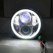 universal 7 Inch Round <strong>Projector</strong> H4 Halo Angel Eye Turn Signal Light Driving LED Headlight For Jeep Wrangler JK TJ LJ
