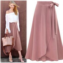 F10680A 2018 Summer new high waist belt irregular <strong>skirt</strong> for fat ladies