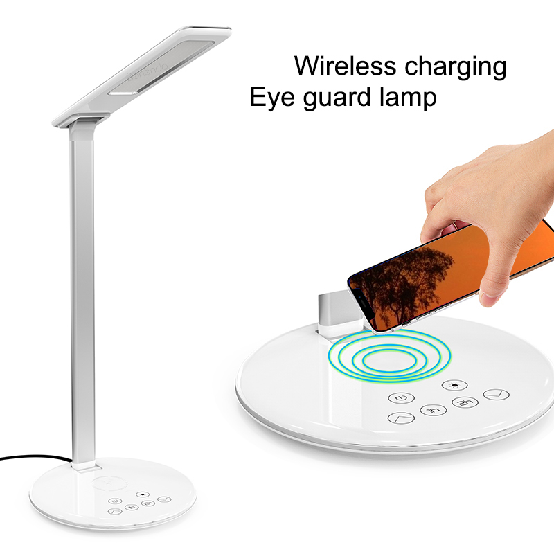 Wireless Charging LED Desk Lamp, Student Working Desk Lamp with Wireless Charging