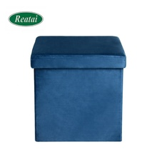 Reatai new fabric flat velvet foldable chair and ottoman set