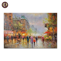 Handmade Paris Decoration Street Scene Painting Huge Wall Art On Linen Canvas