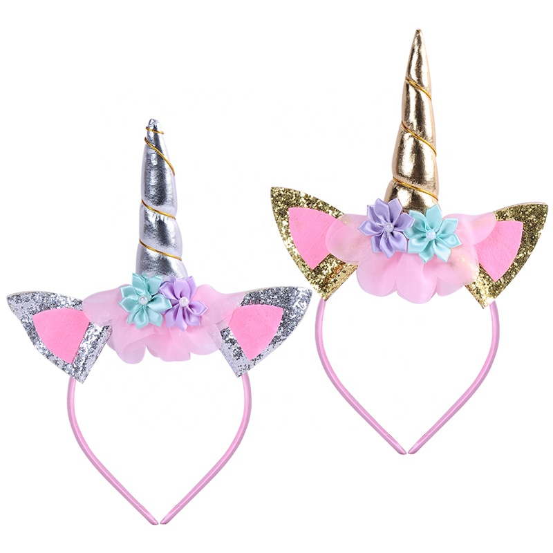SJ065 New Arrival Unicorn Decor <strong>Headband</strong> Blinking Christmas Little Unicorn Candle Cap Hair Clip <strong>Headband</strong>