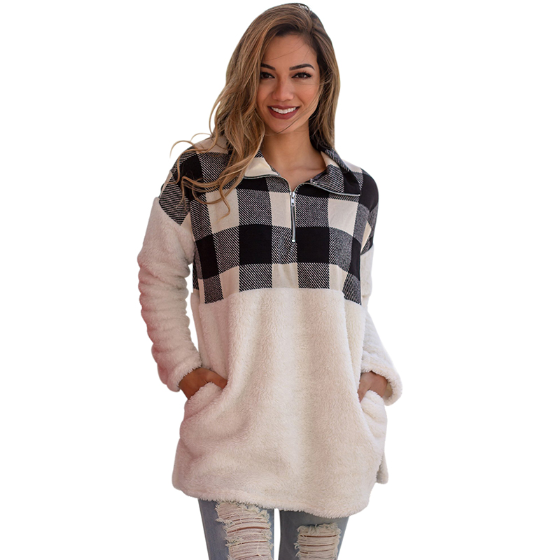 Hot Fuzzy Camo Print Pullover Women Sweatershirt Outwear