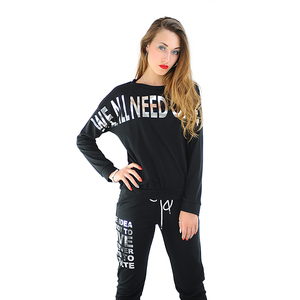 Italy Style Women Long Sleeves Sexy Tracksuit Coton Sweatshirt top and Pants 2 Piece slim Sportswear Suit