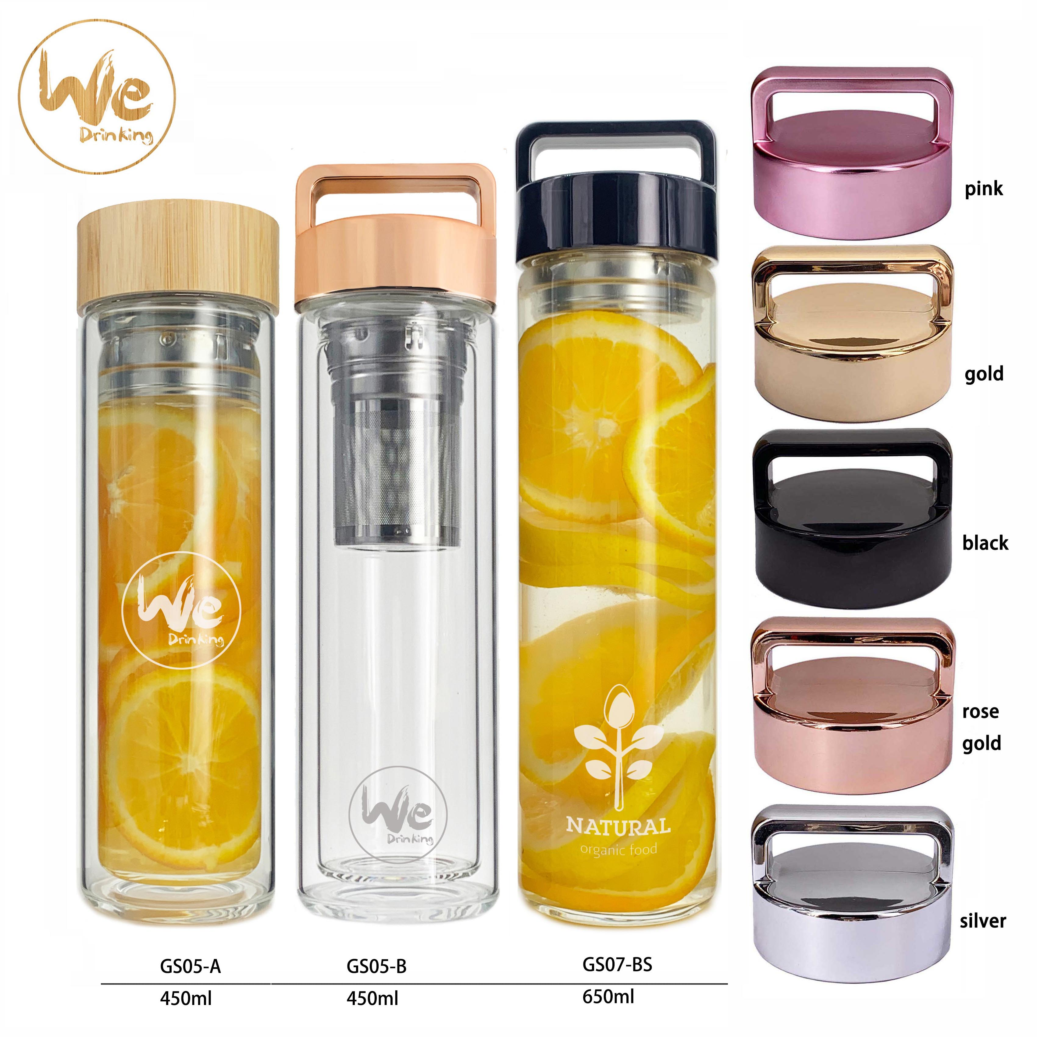 GS07-B 480ml for Hot Cold Tea Detox Insulated Glass Water <strong>Bottle</strong> with Handle Lid and strainer