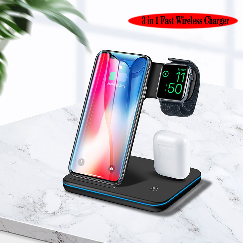 Wireless charger stand 3 in 1 fast wireless charging station 15W Max for iPhone and Android Phone/2.5W for watch/2W for earphone