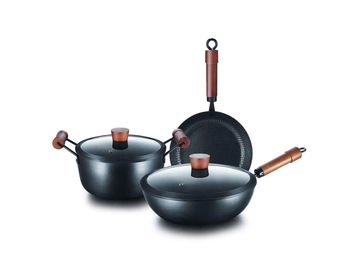 Hot Selling metal material stone coated frying pan, aluminum round fry pan pot and pan sets