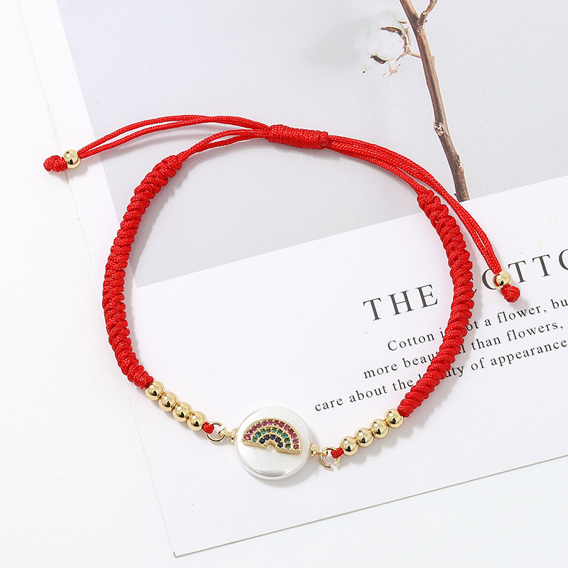 AF002 Trade Assurance 2020 Latest New Design Crystal Rainbow Round Shell Charm Handmade Weave Red Rope Adjustable Women Bracelet