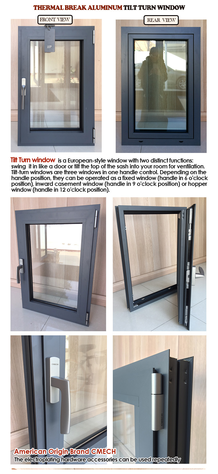 Australian standard AS2047 AS2208 low-e glass aluminum tilt and turn window with Roto hardware