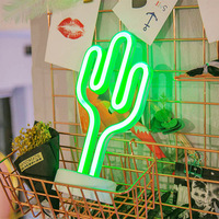 Cactus custom flexible usb battery powered operated rgb flex led strip neon sign light for rooms