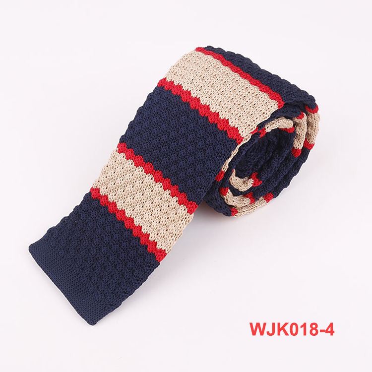 100% Polyester Blue Navy Knitted Striped Neck Ties for Men