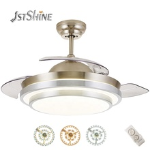 1stshine decorative Acrylic lampshade bldc retractable blades fancy ceiling <strong>fan</strong> with led light remote control
