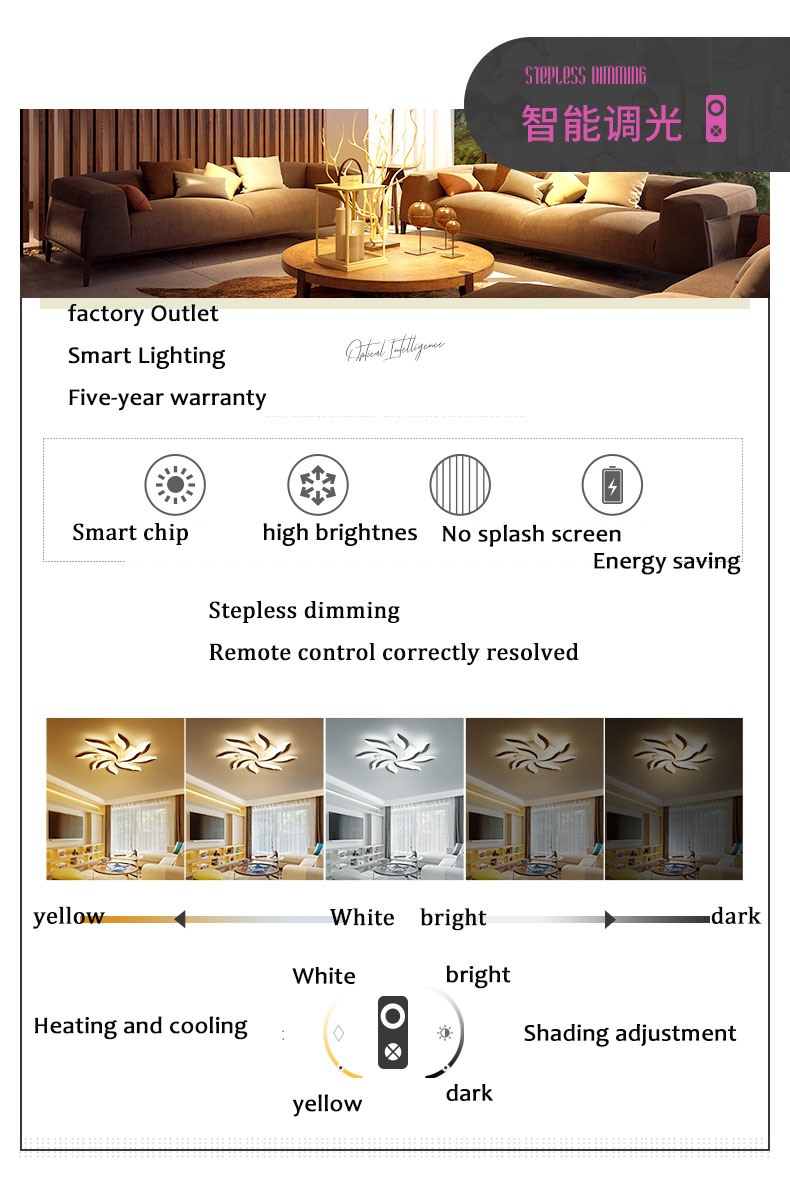 Wholesale Modern LED Living Room Ceiling Light Simple Fancy Ceiling Light Smart Dimming Light