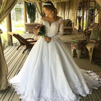 FA160 Long Sleeve Wedding Dresses A Line 2019 Lace Appliques O Neck Pearls Back Bridal Wedding Gowns Plus Size