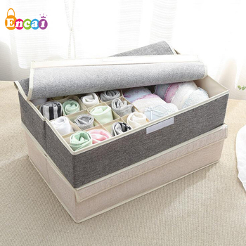 Encai Foldable Storage Box For Underpant & Socks Underwear Bra Storage Case With Lid