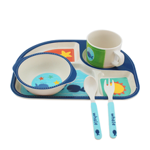 Wholesale bio degradable christmas gift edible biodegradable set of dishes kids baby Bamboo Fiber Children Tableware