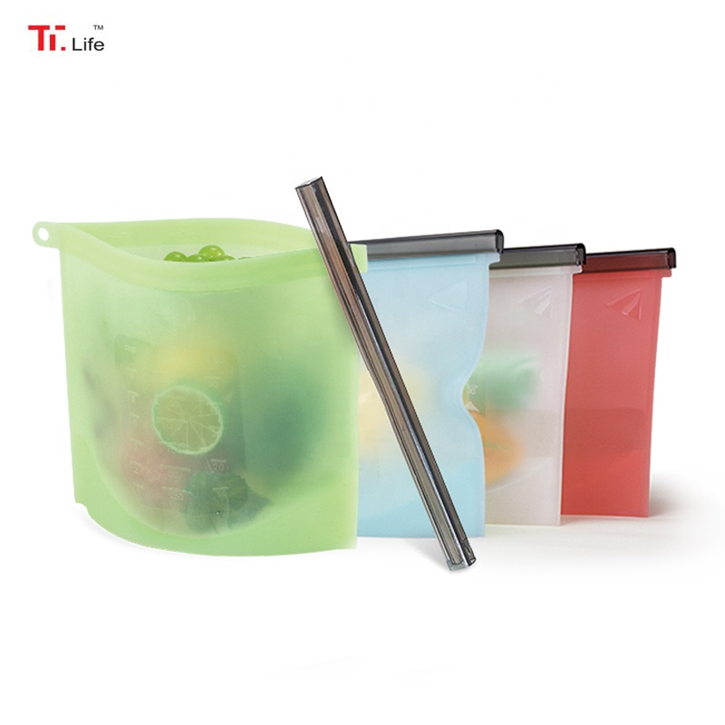 Reusable Silicone Food Storage and Snack Bags Reusable Silicone Airtight Food Storage Bags