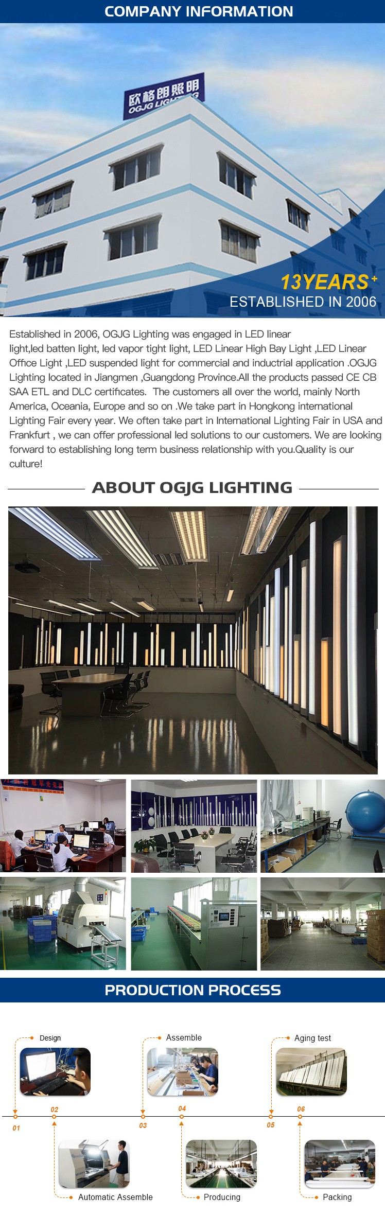 OGJG 2ft 4ft 5ft wall mounted dimmable tube lamp suspended commercial office linkable pendant led up and down linear light