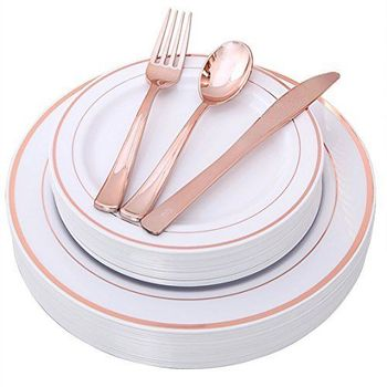 25 Guest Disposable Gold Dinnerware Set Heavy Duty Plastic Plates, Cups, Silverware & Napkins