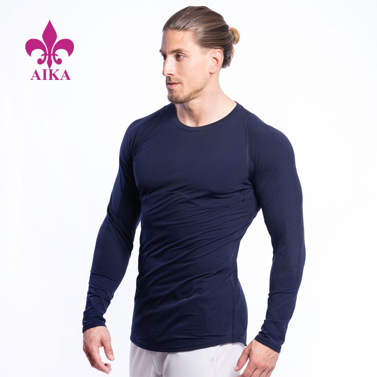Show Muscle Design Dark Navy Gym Tight Slim Fit Long Sleeve Top Men Sports Running T-shirt
